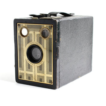 SALE - Vintage Kodak Brownie Junior Six 20 Camera - 1930s Art Deco 620 Film Black Box Camera / Rectangular Box