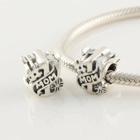 "Amazon.com: 925 Sterling Silver ""#1 Mom"" Charms/beads for Pandora, Biagi, Chamilia, Troll and More Bracelet: Jewelry"