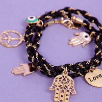 Braided Multi Charm Bracelet