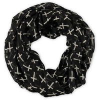 D&Y Black Cross Print Infinity Scarf at Zumiez : PDP