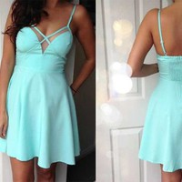 Mint Sleeveless Cross-Over Front Skater Dress