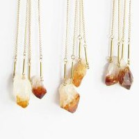 Citrine Drop Necklace by thevamoose on Etsy