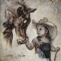 WESTERN ART, OIL PAINTING, FINE ART, MODERN ART, GICLEE PRINT COWBOY | Virgil_C_Stephens-Notevena_Gallery - Print on ArtFire