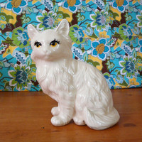vintage cat figurine /// mod white cats yellow by thriftonica