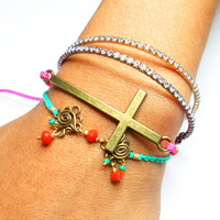 Neon pink cord sideways cross friendship bracelet - antique brass mint adjustable closure designer free people inspired