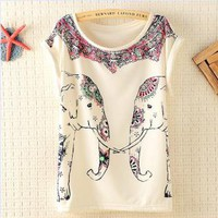 Cute Elephants Print Shirt with Flora Details-j