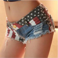 Jeans Shorts with US Flag j001