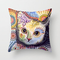 Lucy ... Abstract cat art Throw Pillow by Amy Giacomelli
