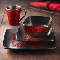 American Atelier Yardley Red 16-Piece Dinnerware Set