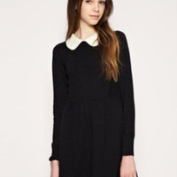Graceful Womens Casual Black Mini Dress Shift Long Sleeves Peter Pan Collar 1DR