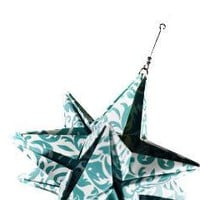 Teal Floral 4 inch Origami Star Ornament by Rigmarole on Etsy