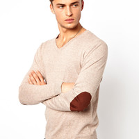 ASOS V Neck Jumper with Elbow Patches