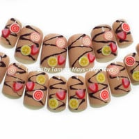 Banana Chocolate Dessert Fake Nails Kawaii 3D by niceclaws on Etsy