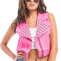 Fuchsia Trendy Vest With Metal Stud Accents | Tanny's Couture LLC