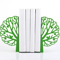 Minimalistic bookends - Summer - salad green tree laser cut metal bookends strong enough to hold your books