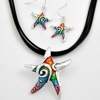 Colorful Enameled Hand Painted Starfish Necklace and Earrings Set .