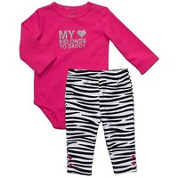 "Carter's Girls 2 Piece Hot Pink/Black Pants Set ""My (heart) Belongs to Daddy) (6 months)"