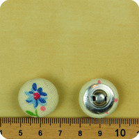 5pc Blue Daisy On Cream Linen Handmade Fabric Buttons