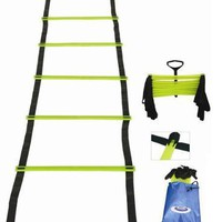 Cintz 15 Ft adjustable soccer speed agility ladder with flat rungs and Ladder Organizer in a carry bag