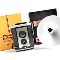 Vintage Kodak Brownie Reflex Camera - 1940s Black Bakelite Camera with Flash Unit, Directions, & Original Box /  Retro Photography Set