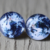 Earth Earrings : Fake Plugs, Planet Earth, Space, Constellation, Navy Blue and White Stud Earrings, Summer, ArtisanTree