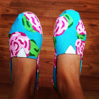 Lilly Pulitzer inspired handpainted Toms by TheColorfulLizard