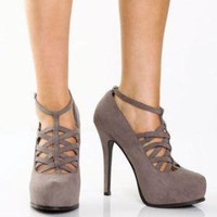 Privileged Fame Grey Velvet Cage Front Platform Heels - &amp;#36;35.00