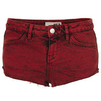MOTO Red Denim Hotpant - Denim  - Clothing