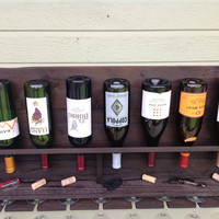 Simplistic - reclaimed wood wine rack - large stained