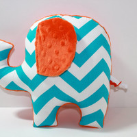 Chevron Elephant nursery pillow toy ELLE turquoise orange grey gray plush for modern baby