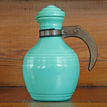 1930s Pacific Pottery Carafe // Turquoise Art Deco Art Pottery Carafe
