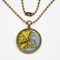 Vintage Boston Necklace -The Map of Boston -Vintage Map Pendant Series