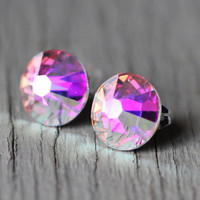Diamond Fake Plugs : Oversized Crystal Swarovski Stud Earrings with AB Finish, Sterling Silver Plated, Rainbow, Pink, Metallic