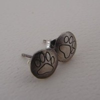 Sterling Silver Stud Earrings Discs with Paw Print Design Handmade