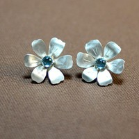 Handmade flower earrings in sterling silver with blue topaz