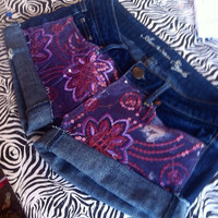 Purple Floral Sequin Shorts