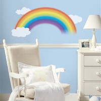 "Over the Rainbow Mega Pack Peel and Stick Nursery Wall Decal Set - 42"" x 22"" Rainbow and 22 Fluffy White Clouds"