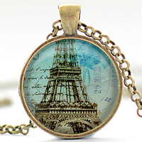 Paris Necklace, Vintage Style Paris Jewelry, Eiffel Tower Pendant, Paris Charm (473)