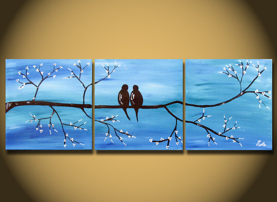 Wall Art For Love : Blue large painting love bird wall art from oritart on etsy