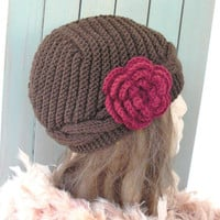 Hand Knit  hat- Cable knit  Womens  hat  Slouchy Beanie  Cloche  Wool hat   in Brown  with flower Fall autumn winter accessories Fashion