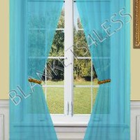 "2 Piece Solid Turquoise Sheer Window Curtains/drape/panels/treatment 55""w X 84""l"