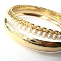SALE - 3 Piece Set Glamour Girl Pearls Braided and Simple Gold Bangles