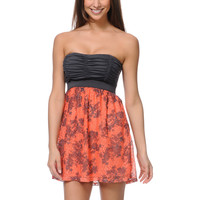 Lunachix Charcoal & Coral Print Crochet Strapless Dress at Zumiez : PDP