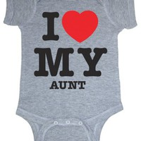 So Relative! I Love My Aunt (Red Heart) Heather Grey Baby Infant Short Sleeve Bodysuit Creeper (Heather Gray, 6 Months)