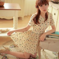 Lovely Heart Print Pleated Dress High Waist Chiffon Korean Women Fashion