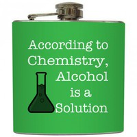"Liquid Courage Flasks: ""Alcohol is a Solution"" - Funny Custom Color Liquor Flask"