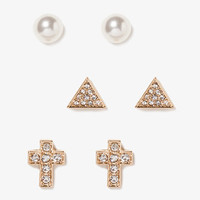 Cross, Triangle & Bead Stud Set | FOREVER 21 - 1049036081