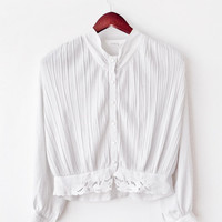 Rare Vintage 1930's Antique White long sleeve Shirt with Classy Pattern and Chantilly Lace (M) Mid Century - Edwardian - WWII