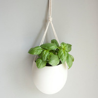 medium porcelain and cotton rope hanging planter by farrahsit