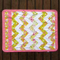Pink Zig Zag Baby Receiving Blanket Flannel by TwiggyandOpal